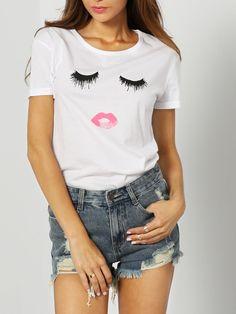 White Short Sleeve Eyelash Lip Print T-Shirt 10.82