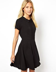 Image 1 of ASOS Skater Dress With Collar And Pintucks