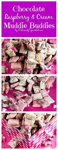 Chocolate Raspberry & Cream Muddie Buddies! #valentinesday #nobake