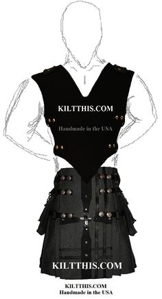Grey Fleece Gear Kilt and Black Canvas Vest with Large by Kilt This #kilt #vest #handmade #custom #black #grey #goth #punk #burning_man #fashion #unisex #original #fetish #sexy