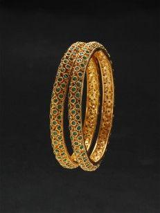 Golden blue stones bangles