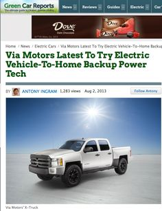 """PG's VIA trucks could power a WHOLE street. """"The truck would have gotten the engineers there in the first place--plus their tools and anything else needed to effect repairs & bring a street back on-line.""""  Thanks Green Car Reports for article on VIA's green fleet! http://www.greencarreports.com/news/1085984_via-motors-latest-to-try-electric-vehicle-to-home-backup-power-tech  #greenfleet #electricfleet #pluginfleet #pev #phev #greenfleets #electrictruck #electrictrucks"""
