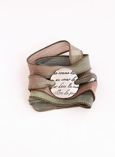 French Script Fine Silver Silk Ribbon Wrap Bracelet Precious Metal Clay Bracelet Romantic French Writing Earth Tones Khaki, Sage. $69.00, via Etsy.