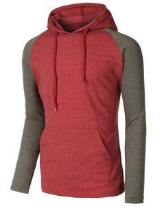 LE3NO Mens Lightweight Color Block Raglan Pullover Hoodie Shirt