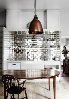 Mirror Backsplash mirror bevel brick tiles will give any environment a glamorous