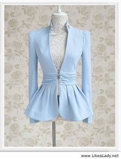 Morpheus Boutique - Blue Crystal Pleated Long Sleeve Zipper Hem Jacket I would love it in black nude white grey maroon etc. Blazers For Women, Suits For Women, Jackets For Women, Clothes For Women, Fashion Beauty, Girl Fashion, Womens Fashion, Fashion Tips, Fashion Design