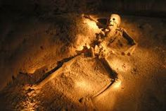 Actun Tunichil Muknal Cave, Belize.  Archeological site near San Ignacio.  Mayans practiced human sacrifice here, as evidenced by the cave's most startling skeleton:  the Crystal Maiden, a teenage girl whose bones seem to sparkle.