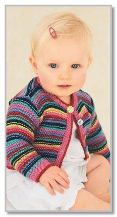Вязание спицами. Жакетик в многоцветную тонкую полоску и шапочка. Размеры: на 6-9 (9-12) месяцев, (1-2) (3-5) лет