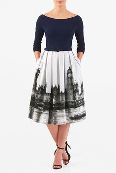 London calling print belted mixed media dress # eShakti