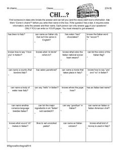 ITALIAN FIRST WEEK SCAVENGER HUNT / FIND SOMEONE WHO - TeachersPayTeachers.com