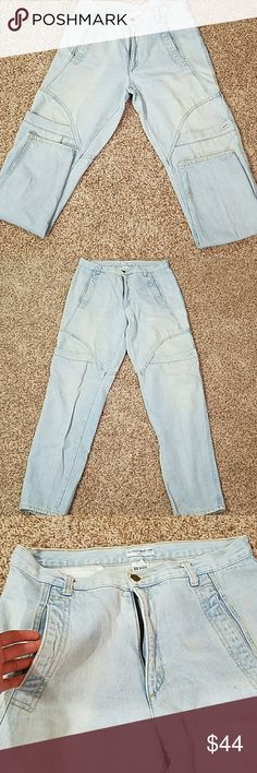 Men's Vintage George's Marciano jeans Two huge pockets on front pant leg  Two inward pockets on top of JEAN   Trouser type pockets in the back   So unique and cool I couldn't find any to compare online these are one of a kind!  Tapered at the end   Size 36×34 Guess by Marciano Jeans Straight