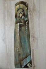 IRENA KWASNIEWSKA-OBRAZY Domino Art, Angel Drawing, Driftwood Art, Angel Art, Picture On Wood, Love Painting, Painting Techniques, Wood Carving, Painting Inspiration