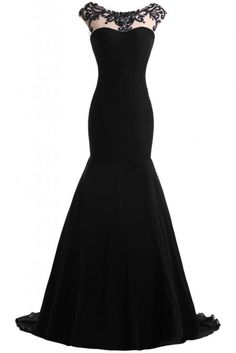 Cap black long prom dress