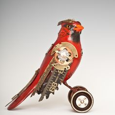 Cardinal Red Bird Steampunk Song Bird on Wheels by Mullanium. this is simply awesome! Steampunk Bird, Steampunk Animals, Steampunk Mask, Steampunk Design, Steampunk Fashion, Collections D'objets, Mechanical Art, Found Object Art, Galo