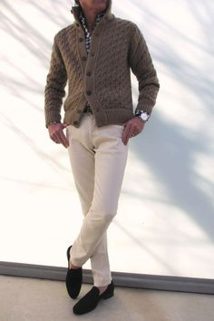 This is a fantastic casual look. The sweater and the watch compliment the shirt, pants, and shoes. Details Matter!