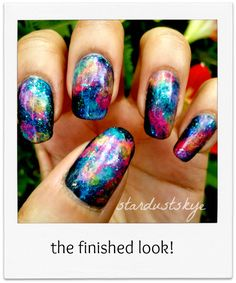 Galaxy Nails Tutorial - Imgur. Best galaxy nails ever? I love all of the colors.