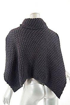 Sarah Pacini Grey Charcoal Nylon Alpaca Blend T-neck Crop Sweater  Poncho Cape Size OS (one size) 492ea026e