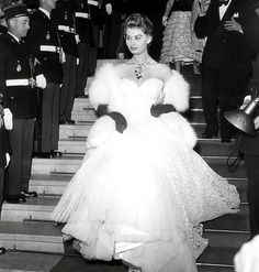 Sophia Loren making a grand entrance at the 1954 Cannes Film Festival.