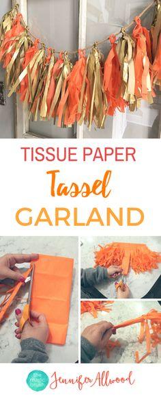 DIY Tissue Paper Tassel Garland | The Magic Brush | How to make tassel fringe | Party Decorations | Girls Craft Night Ideas | DIY Projects | Diy Decor