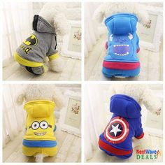 Cartoon Character Hoody Fantastic Cartoon Character Design Hoddies for your favorite puppies. It is made in 100% cotton so very comfortable use. Non Toxic so it is good for sensitive dog. Material: 100% Cotton
