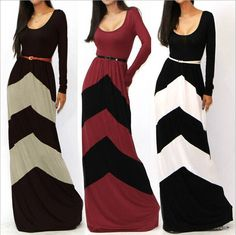 Casual Color Block Sleeve Pleated Floor Length Long Dresses | GonChas