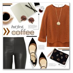 """""""Coffee Break!"""" by lilymillyrose on Polyvore featuring By Malene Birger, WithChic, Moleskine, Givenchy, Christian Louboutin, Angela Valentine Handbags and too cool for school"""