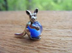 Sterling Silver Kangaroo Pendant With Blue Stone