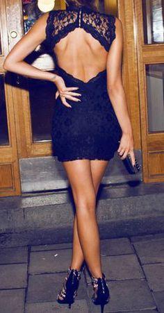 Black Mini Backless Lace Dress