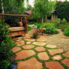Front yard idea - Flagstone with ground cover in between...if it's shady enough moss in between would rock!