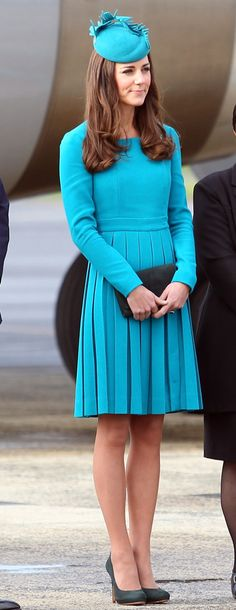 THE REAL TEAL! Kate wowed in a Emilia Wickstead dress with matching Jane Taylor topper.