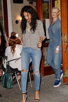 Rihanna wearing ripped jeans while leaving Da Silvano restaurant in New York (August 2014). #rihanna