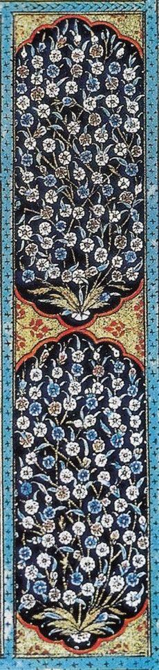 Müzehhip Karamemi:Karamemi Kanuni Sultan Süleyman döneminde Topkapı Sarayı Nakışhanesinin baş ustalığını yapmıştır. Illumination Art, Tile Murals, Islamic Art, City Photo, Colours, Quilts, Antiques, Home Decor, Mandala