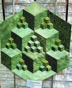blocks created by dark, medium and light fabrics all in green. Geometric Quilt, Hexagon Quilt, Optical Illusion Quilts, Optical Illusions, Tumbling Blocks Quilt, Quilt Blocks, Paper Piecing, Quilting Projects, Quilting Designs