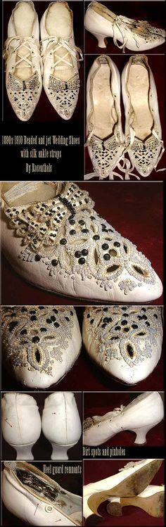ROSENTHAL'S by ties SILK with shoes Wedding Victorian BEADED