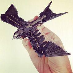 Bird made of typewriter parts...