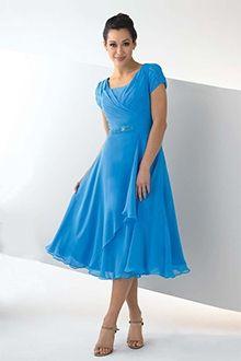 A-Linie/Princess-Linie Carré-Ausschnitt Wadenlang Chiffon Brautmutterkleider
