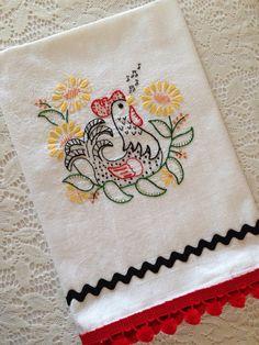 "Flour Sack, ""Folksy Chicken"" Hand Embroidered Tea Towel, White Cotton Towel with Pom Pom/Rick Rack Trim"