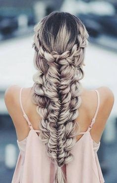 braids. pink cami.