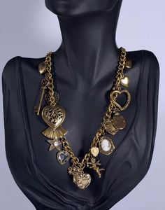 New at #CherryOrchardAttic on #eBay: Victorian Revival Sweet Heart Romantic Multi Charm Gold Tone Necklace #jewelry #necklace #statementnecklace #bibnecklace #charmnecklace #multicharm #romanticnecklace #sweetromance #heartnecklace #heartlocket #layeredlook #jewelryblogger #victorian #vintagenecklace #hearts #angel #love #girlfriend #heartlocket