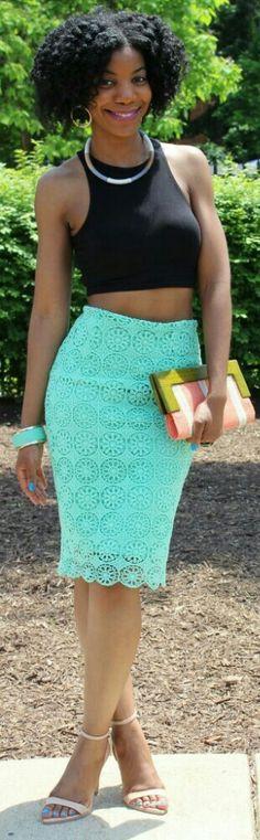 Black Crop Top + Mint Green Lace Skirt / Fashion by Kasi Perkins