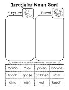 Irregular Plural Noun Sort. Cut and paste freebie!