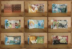 miniboekje met collages7,5 x 7,5 cm Collage, Mixed Media Art, Paper Art, Book Art, Artist, Canvas, Products, Paper, Mosaics