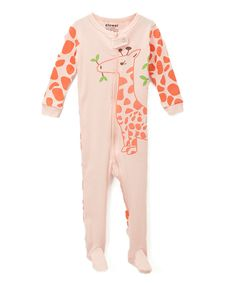 Take a look at this el-ow-el pajamas Pink Giraffe Footie - Infant, Toddler & Girls today!