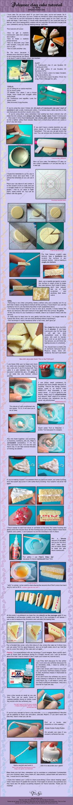 Polymer Clay Cake Tutorial by ^Talty on deviantART    It looks so delicious, I want to eat it!