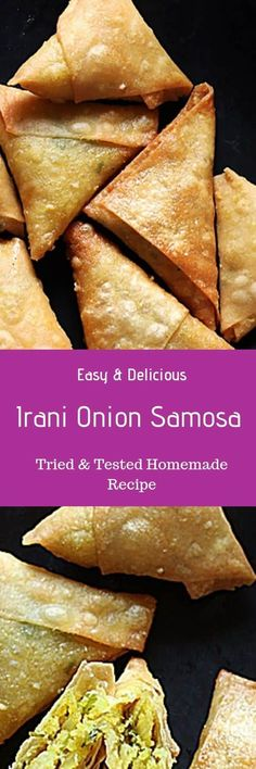 Onion samosa- make delicious, crispy & flaky onion samosaor Irani samosa from scratch with this easy recipe. Easy vegan snack for tea time! Paneer Recipes, Veg Recipes, Delicious Vegan Recipes, Kitchen Recipes, Indian Food Recipes, Snack Recipes, Cooking Recipes, Cooking Tips, Vegetarian Recipes