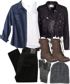 Splendid white shirt / Merona plus size top / H M motorcycle jacket, $150 / Nobody Denim black jeans, $89 / Ankle booties / Carolina Amato fingerless glove / Aéropostale knit hat