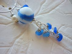 Sea Glass Necklace  Blue Cluster Marble Beach by TheMysticMermaid