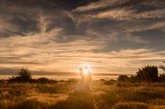 Sunset portrait of Teresa and Heath in field behind venue | Cossars Wineshed wedding venue, Canterbury, New Zealand