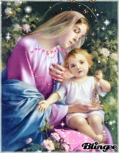 """Blessed Mother and Jesus """"Give me back my rosary!"""" Sorry, this makes me think of my little grandson playing with my rosary! Divine Mother, Blessed Mother Mary, Blessed Virgin Mary, Madonna Und Kind, Madonna And Child, Catholic Pictures, Jesus Pictures, Angel Pictures, Religious Images"""