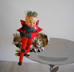 Vintage Christmas Pixie Elf Ornament